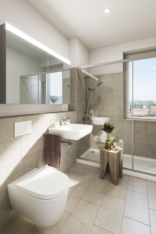 Eigentunswohnung Dusche + WC Nähe Bodensee in Sulgen Thurgau - Bemusterung Ideen zum Dekorieren und Einrichten für Badezimmer Eigentumswohnungen Bodensee kaufen