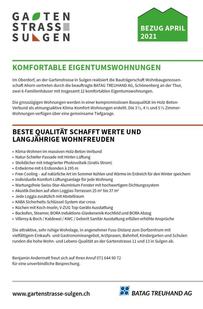 Eigentumswohnungen kaufen Sulgen Thurgau Bodensee Ostschweiz